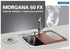 Pia Inox Acetinado 685x485mm com 1 Cuba Morgana 60 FX com Acessórios + Lixeira para Granito 5 Litros Tramontina 94990/002