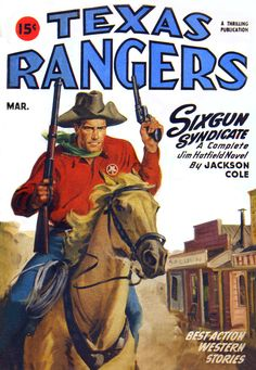 Texas Rangers Magazine Cover Art and Illustrations - Cards Book Pulp Fiction Comics, Pulp Fiction Book, Trading Card Sleeves, Western Comics, Western Art, Pulp Magazine, Magazine Covers, Card Book, Comics Universe