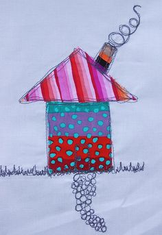 thread doodling house