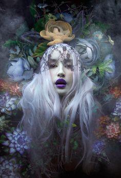 "flower garden, ethereal, long blonde hair, woman, blue lipstick, veil. ""Lost Bunny"" — Photographer: Natalie Shau"