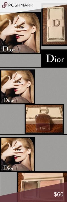 🌹HP🌹Dior🌹Detective Chic Shimmery PowderFaceEyes From the House of DIOR🌹Dior Detective Chic Shimmery Powder Face And Eyes 001🌹Brush still in plastic🌹White Leather Case🌹mirror has some discoloration🌹this is a discontinued Palette🌹bought,never used,can be used multipurpose,as a highlighter,eyeshadow/blush/powder🌹price reflects mirror discoloration Dior Makeup Face Powder