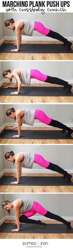 3 Push Up Variations -- Marching Plank Push Ups with Crossbody Crunch