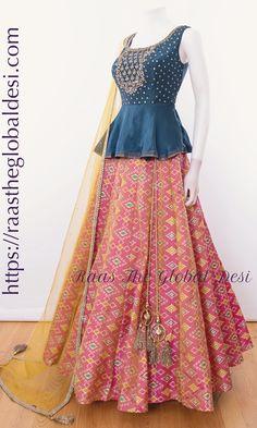 - CHOLI-Raas The Global Desi-[wedding_lehengas]-[indian_dresses]-[gown_dress]-[indian_clothes]-[chaniya_cholis] Source by - Half Saree Designs, Choli Designs, Lehenga Designs, Saree Blouse Designs, Kurta Designs, Indian Gowns Dresses, Indian Fashion Dresses, Indian Designer Outfits, Designer Dresses