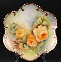 """Beautiful  Porcelain 8"""" Plate Hand Painted """"Bridal Rose"""" Artist Signed"""