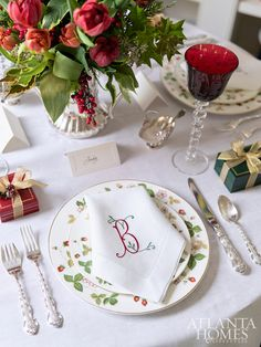 Custom, white monogrammed linens by Nancy Stanley Waud Fine Linens in Beverly Hills are paired with the Wedgwood china, Gorham Strasbourg silverware and Saint Louis crystal stemware. Thanksgiving Table Settings, Christmas Table Settings, Christmas Tablescapes, Holiday Tables, Christmas Decorations, Table Decorations, Holiday Decor, Christmas Candles, Christmas Trees