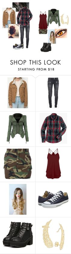 """Highschool Genderbent Sabriel"" by valorievelocity ❤ liked on Polyvore featuring Balmain, J.Crew, Yves Saint Laurent and Converse"
