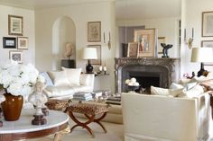 The Only Six White Paint Trim Colors You'll Need - laurel home   lovely white on white living room in the home of Adrienne Vittadini