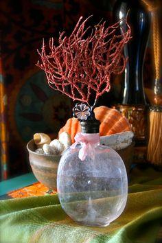 Vintage Sea Bottle Tangled Sea Fan With Crystal Rustic Solder Art Bohemian Coastal
