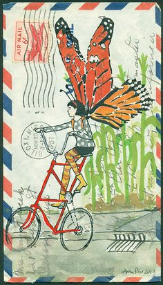 Butterfly on a Tallbike by Amy Rice - art on an airmail letter. Collages, Collage Art, Art Postal, Illustration Art, Illustrations, Envelope Art, Letter Art, Letters, Letter Writing
