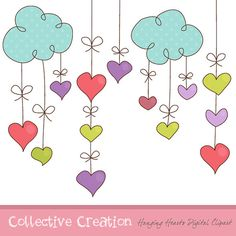 Hanging Hearts Digital Clipart Set  Ideal por CollectiveCreation