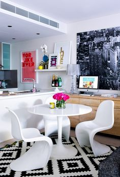 Love the black and white with accent bright colors. Adore magazine made by girl Modern Home Decor ::