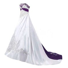 fa7d38d3b01b8 White And Purple Wedding Dresses Plus Size Satin Embroidery Beaded Bridal  Gown