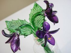 3 x hand blown tiny glass violets glass by alltheseprettythings, £8.00