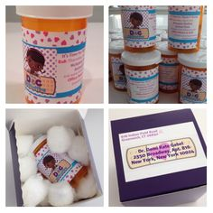 Doc McStuffins birthday pill bottle invitations. Filled with skittles. Perfect purple box padded with cotton balls. Custom labels address the guests as Dr. and feature the cute heart band aid.
