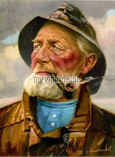 I have a painting of an old fisherman smoking a pipe. I have tried to research this painting and what I have found is - Answered by a verified Appraiser Old Fisherman, Sea Captain, Sea Art, Vintage Art Prints, Cthulhu, Old Men, Vincent Van Gogh, Cool Art, Sketches
