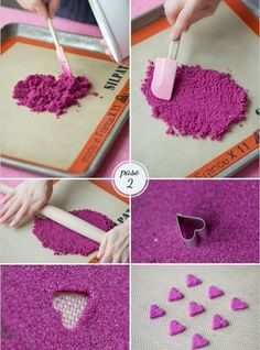 Sweet sugar hearts - the site then used the hearts to decorate a layer wedding cake - pretty Diy Ombre, Cake Decorating Tutorials, Decorating Cakes, Cookie Decorating, Decorating Ideas, Art And Craft Design, Cake Bars, Festa Party, Cake Tutorial