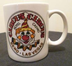 e719ffcc0e0 Vintage Circus Circus Reno Las Vegas Souvenir Coffee Mug Clown Graphic