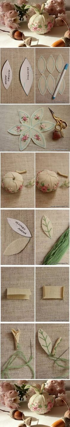 DIY Fabric Apple Decor...(I'd make this into a pin cushion. It is adorable.)