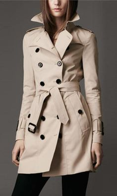 This coat with belt and double button is more and more popular,which brief Figuring can make you look much slimmer and elegant,you can wear it at your daily life,get one you prefer. Color:Beige, Black