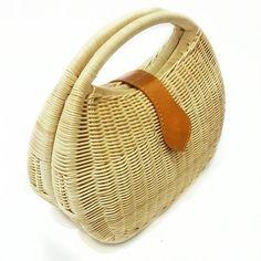 New Rattan wicker purse handmade woven bag top handle bag