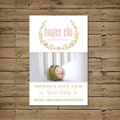 Birth Announcement - Baby Girl Birth Announcement Card - Printable - Laurel Watercolor by PinkSangriaDesigns on Etsy https://www.etsy.com/listing/170736950/birth-announcement-baby-girl-birth