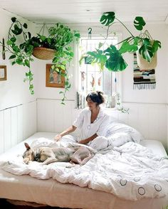 turn your bedroom into a garden and hang some pots from the ceiling