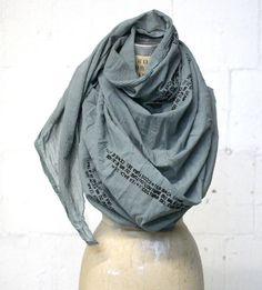 Oversized Grey Text Printed Cotton Scarf by Artlab