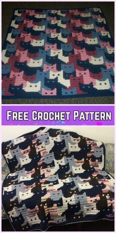 Crochet Cat Afghan Blanket Free Crochet Pattern