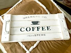 How to Make a Rustic Stenciled Coffee Tray is part of Diy tray - This beautiful rustic tray was downright copied from my friend Donna Donna from Funky Junk Interiors has a gorgeous line of stencils called Old Sign… Pallet Crafts, Wooden Crafts, Diy Wood Projects, Diy Crafts, Pallet Tray, Wood Tray, Barn Wood, Rustic Wood, Rustic Furniture