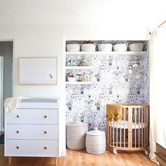So great. Maybe I'll put the changing table in the closet because I'm very happy to co-sleep with baby. I hear it is so much easier to nurse at night, and safer for baby because she'll be less stressed. // How To Create A Tiny Nursery In A Master Bedroom - Sarah Sherman Samuel makes over a tiny nursery with big style. - Photos