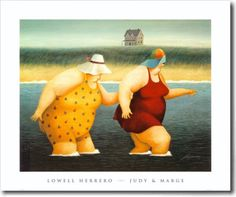 LOWEL HERRERA FAT WOMEN ON BEACH ART | Lowell Herrero. Big People on the Big Earth. And Their Animals ~ Blog ...