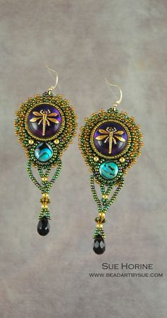 ~~Czech Glass Button Dragonfly Beaded Earrings with Abalone by sedonaskye | Sue Horine~~