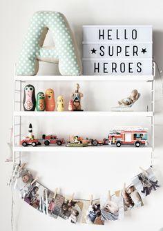 string shelf in children room