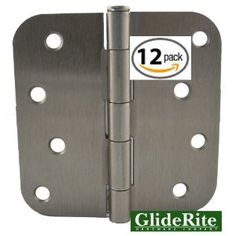 "4058-SN Pack of 12 4"" Brushed Satin Nickel Door Hinges 5/8"" Radius Corners by GlideRite hardware. $20.95. Pack of 12 - GlideRite brand interior residential steel full mortise Door Hinges.  Size 4"" x 4"" with 5/8"" radius corners.  Fully assembled hinges with matching installation screws included.  Available in both Oil Rubbed Bronze and Brushed Satin Nickel finishes.  Lifetime Replacement Warranty"