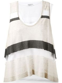 Shop Brunello Cucinelli sheer striped tank top in Stefania Mode from the world's best independent boutiques at farfetch.com. Shop 300 boutiques at one address.