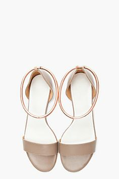 MAISON MARTIN MARGIELA // TAUPE LEATHER COPPER-ANKLET SANDALS