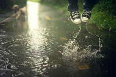 """The world is mud-luscious and puddle-wonderful."" e.e. cummings Walking In The Rain, Singing In The Rain, Its Raining Its Pouring, Puddle Jumping, I Love Rain, Gifs, Spiritual Wellness, Summer Rain, Rain Fall"