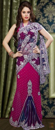 $230.72 Purple and Pink Wedding Lehenga Saree 23392