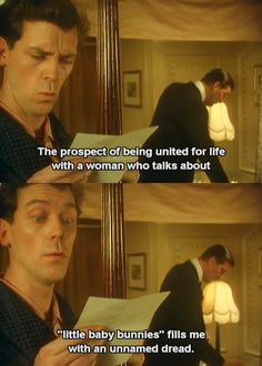 Jeeves and Wooster! this series is hilarious. I mean, this television program is most entertaining, sir. <<< bahahaha that comment. British Humor, British Comedy, Welsh, Jeeves And Wooster, Blackadder, Hugh Laurie, Television Program, Period Dramas, Little Babies