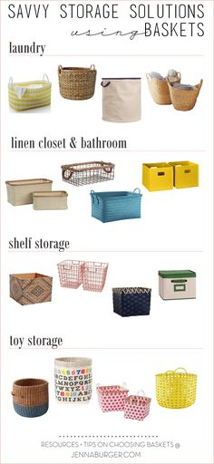 Savvy Storage Solutions using Baskets: Basket resources for the linen closet, sh… – Kids Maxx Craft Storage Drawers, Kids Storage Bins, Toy Storage Solutions, Bathroom Storage Shelves, Small Space Storage, Closet Storage, Closet Shelves, Storage Ideas, Basket Organization