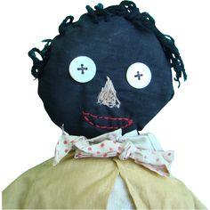 Old Primitive Black Folk Art Cloth Doll Make Do Body C1930 Stitched Face 20 Inch