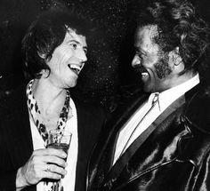 Chuck Berry and Keith Richards hanging out at Studio 54