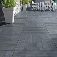 Carrelage terrasse gris anthracite 50 x 50 cm Caillebotis Castorama 16,90 €/m2