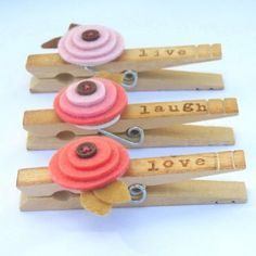 Live Laugh Love Pink Poppy Clothespin Magnets | BippityBoppityGlue - Housewares on ArtFire