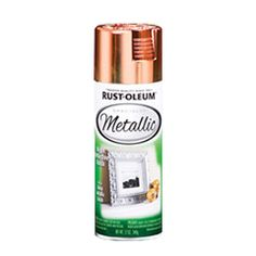 Metallic Copper Rust-Oleum® Specialty Metallic Spray provides rich, shiny finish for decorating and accent pieces. Apply to wood, metal, plaster, masonry or unglazed ceramic. Made with real metal leafing flakes. Fast-drying Indoor use only Bright Reflective Finish