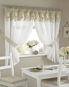 Bows Kitchen Curtains, 5 Sizes Free Tie-backs ,With a Self Attached Pelmet Home Curtains, Kitchen Curtains, Panel Curtains, Kitchen Curtain Designs, Kitchen Design, Diy Kitchen, Diy Room Decor, Bedroom Decor, Home Decor