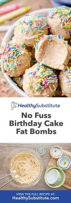 No Fuss Birthday Cake Fat Bombs - Healthy Substitute - Healthy Snacks - Keto Recipes Keto Fat, Low Carb Keto, Low Carb Desserts, Low Carb Recipes, Vegan Recipes, Keto Birthday Cake, Healthy Birthday Desserts, Aperitivos Keto, Ketogenic Recipes