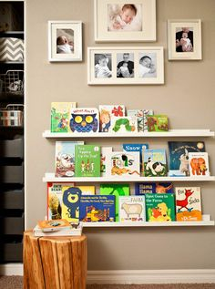 Library Wall for Nursery. Use IKEA Ribba picture ledges to display children's books in Hallie's reading corner. Create cute collage about book display. Nursery Room, Girl Room, Kids Bedroom, Beige Nursery, Nursery Ideas, Playroom Ideas, Kids Rooms, Nursery Pictures, Baby Bedroom