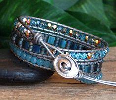 NEW Aquamarine Blue Wrap Bracelet Beaded Leather Triple