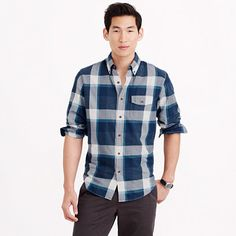 Brushed twill shirt in explorer blue plaid #giftsforhim